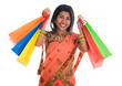 Indian woman in sari dress holding shopping bags