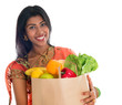 Indian woman in sari dress groceries shopping