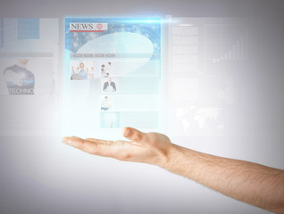 man with virtual screen and news
