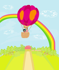 Family flying a hot air balloon over the rainbow