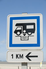 Road sign for motorhome service point