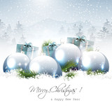 Fototapety Christmas baubles and gifts in winter landscape
