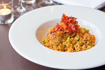 Grilled Chicken on a bed of paella