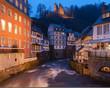 canvas print picture - Monschau bei Nacht