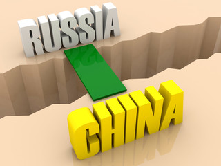 Two countries RUSSIA and CHINA united by bridge.