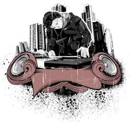 3D dj in city