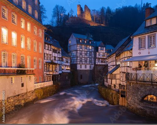 canvas print picture Monschau bei Nacht