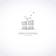 Stylized Merry Christmas card with silver holiday gift box