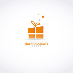 Stylized Happy Holiday card with holiday gift box