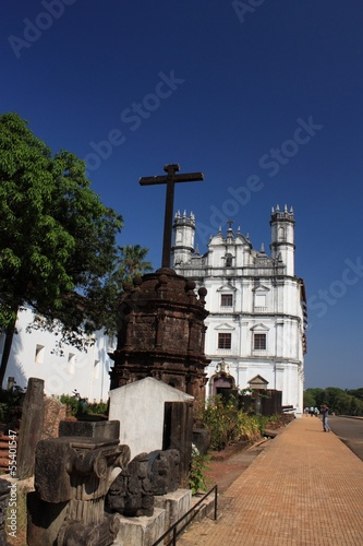 Portuguese white church in Goa state, Ingia.