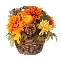Halloween Bouquet with pumpkin and Autumn flowers in basket