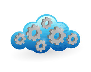 cloud computing and gear illustration design
