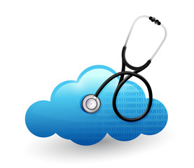 medical cloud computing stethoscope illustration