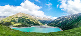 Panorama of spectacular scenic Big Almaty Lake, Kazakhstan