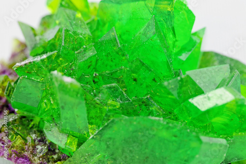crystal macro photo in emerald color - 55403556