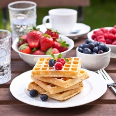 Waffles and fresh berries