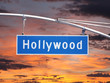 Hollywood Blvd Overhead Street Sign with Sunset Sky
