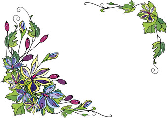 Illustration of frame from abstract flowers and berries