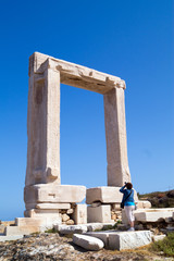 Ancient gate of Apollon temple at the island of Naxos in Greece