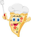 funny cartoon pizza chef character
