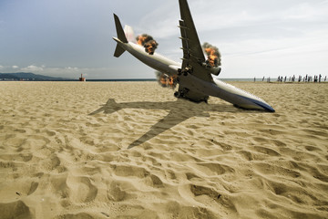 passenger airplane crashed on beach