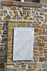Honour Inscription in Gorizia Castle a Medieval Fortress, Italy