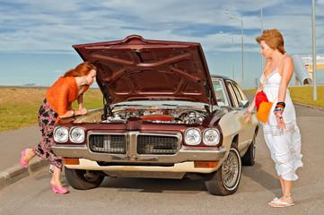 Old American car brokedown