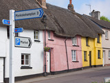 Thatched Cottages at a Crossroads in Devon UK