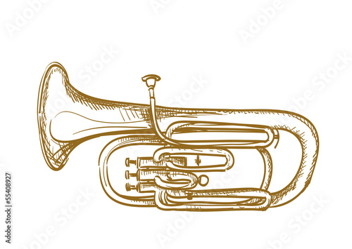 hand drawn baritone horn