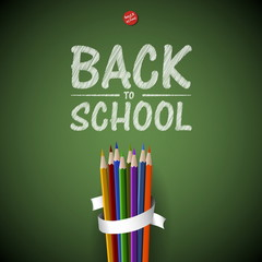 Welcome Back to school background with colorful pencils, vector