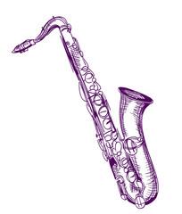 hand drawn classical alto saxophone