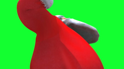 Santa dancing close up against green screen loop