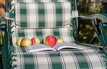 book and apple at their summer chair