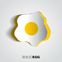 Paper boiled egg - vector card