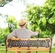 Leinwanddruck Bild - Mature man resting on a wooden bench in a park