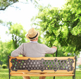 Mature man resting on a wooden bench in a park