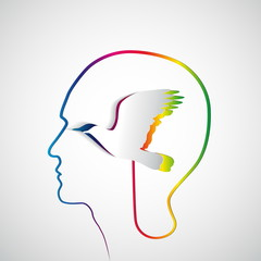 Human head with paper raindow bird - symbol Freedom and creativi
