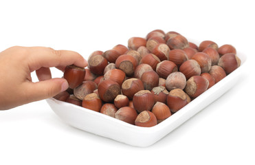 filbert nuts on a white background