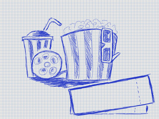 illustration of handwritten tape glass and popcorn