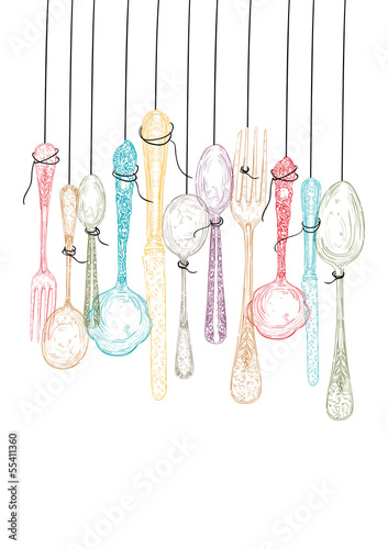 Hanging cutlery elements sketch. - 55411360