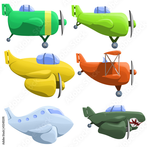 illustration of set of six different planes