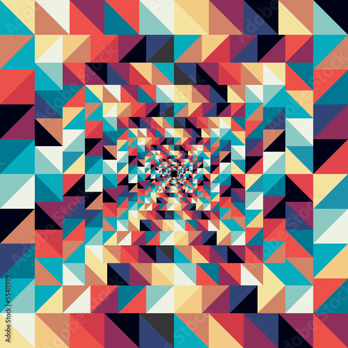 Deurstickers ZigZag Colorful retro abstract visual effect seamless pattern.