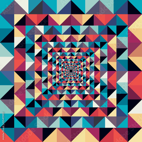 Tuinposter ZigZag Colorful retro abstract visual effect seamless pattern.