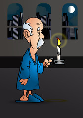 old man holding a candle