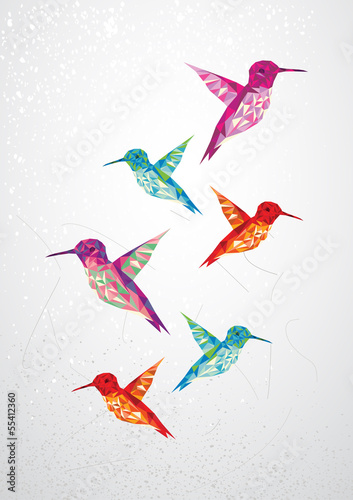 Poster Geometrische dieren Beautiful humming birds illustration.