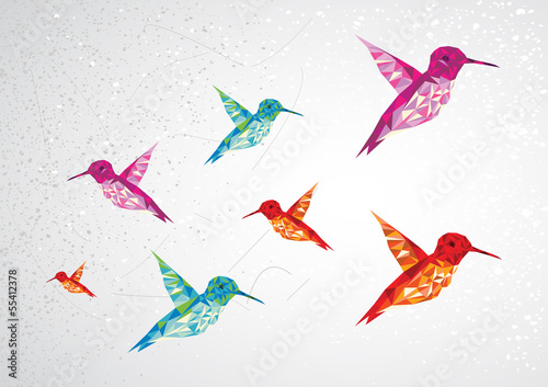 Poster Geometrische dieren Colorful humming birds illustration.