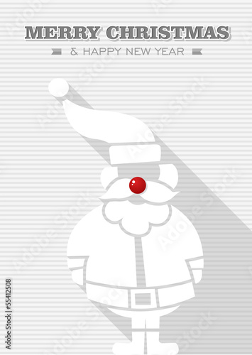 Merry Christmas red bauble white Santa Claus.