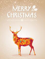 Merry Christmas colorful reindeer shape.