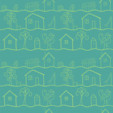 Country houses stylized vector seamless pattern