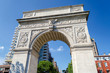 Washington Square Arch and the Empire State Building in the dist
